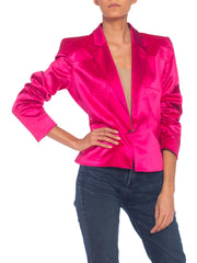 Hot Pink Satin Thierry Mugler Couture 1990s Jacket