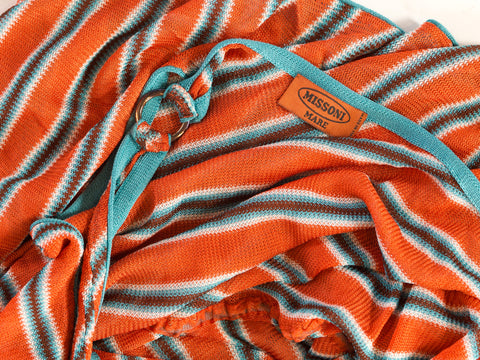 2000S MISSONI Orange & Blue Rayon Blend Knit Romper
