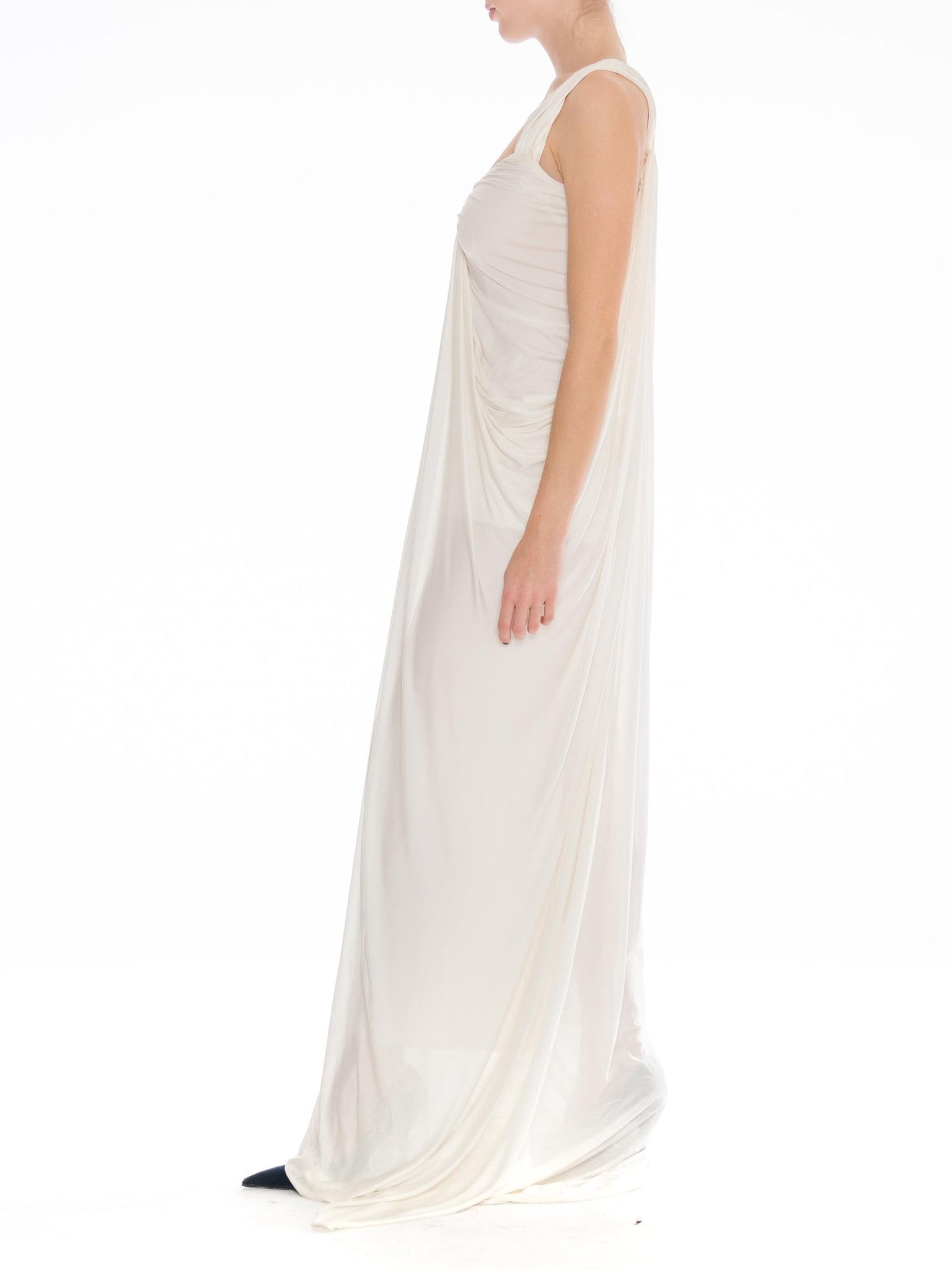 1900S DONNA KARAN Off White Rayon & Silk Jersey Draped Goddess Gown