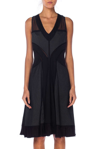 Jean Paul Gaultier Pinstripe Dress With Sheer Panels