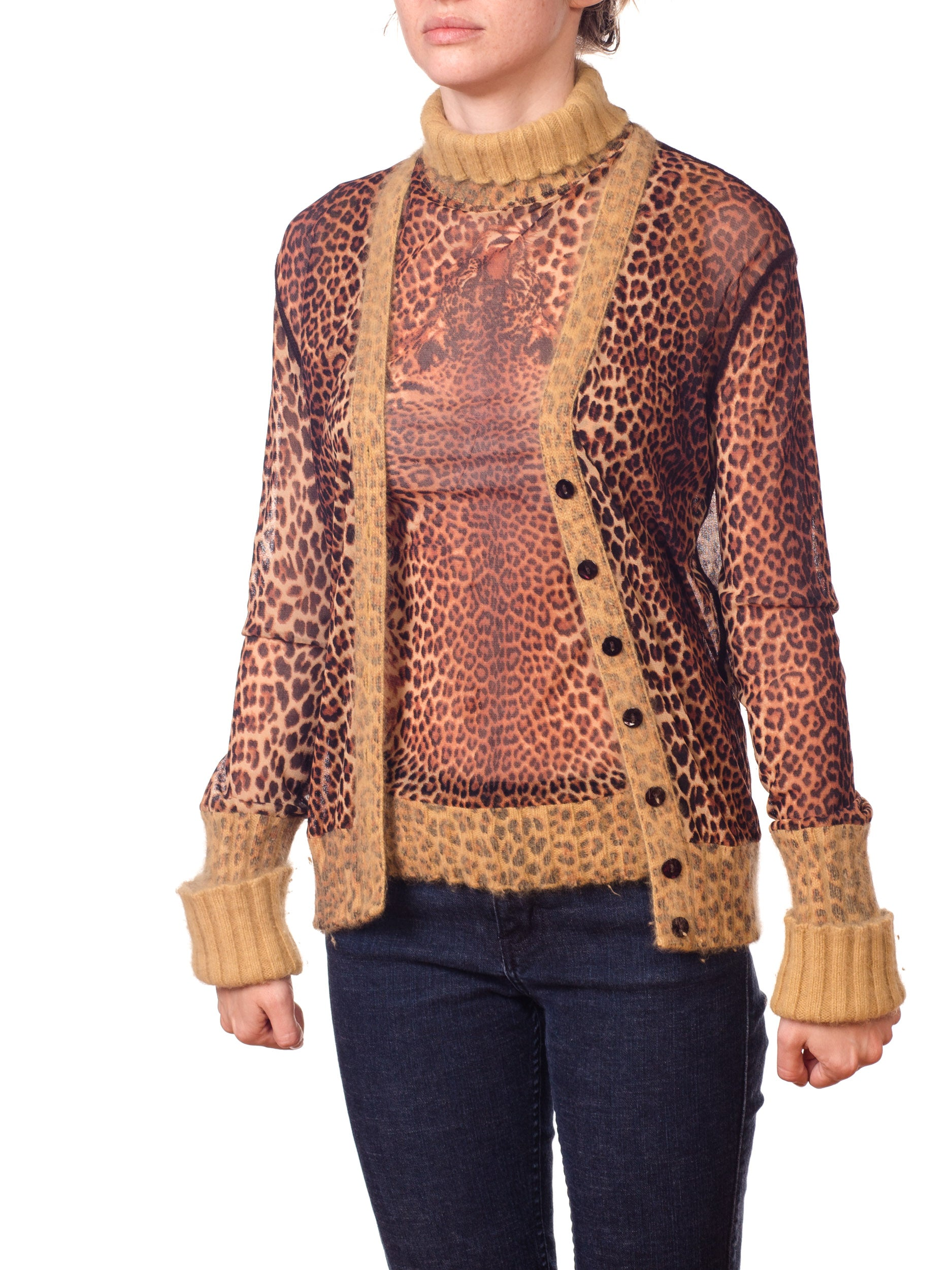 2000S JEAN PAUL GAULTIER Leopard Mesh Top And Cardigan Ensemble With Angora Trim