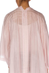 1920s Art Deco Pink Silk Robe With Pin Tucks