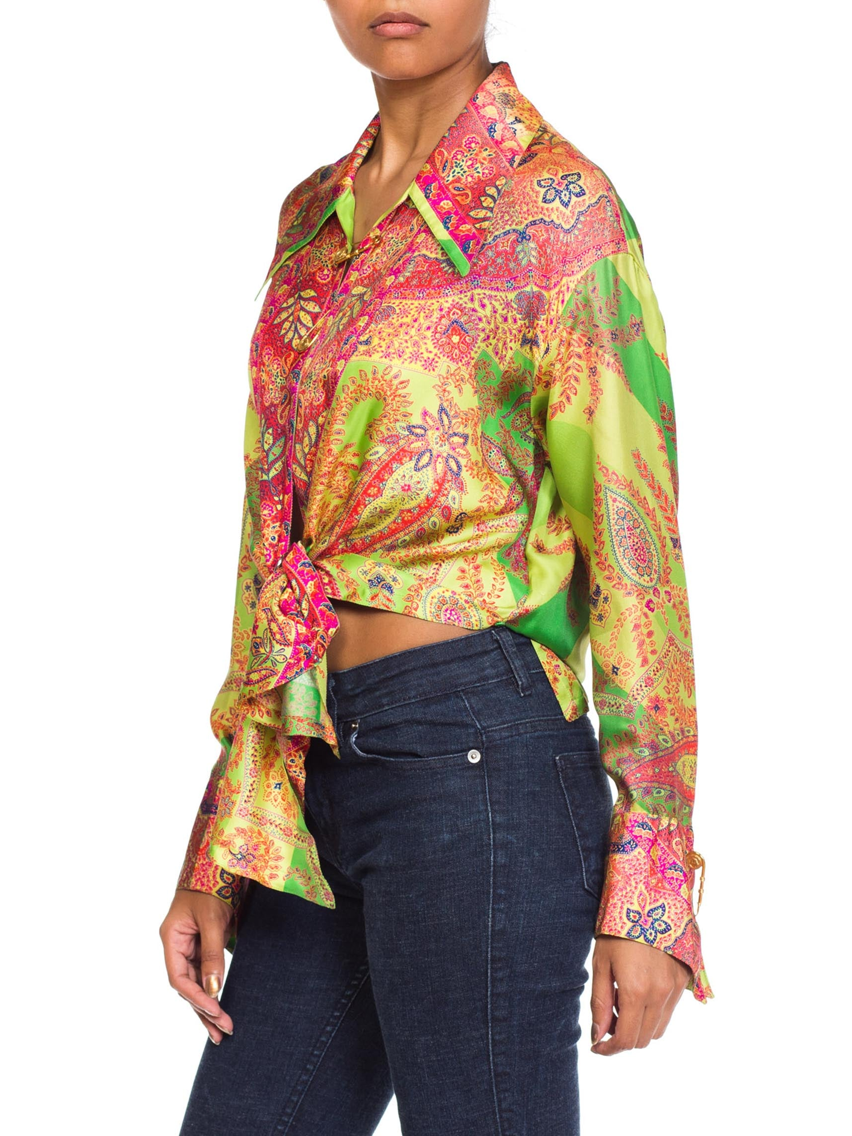 1990S GIANNI VERSACE Paisley Silk Punk Safety Pin Collection Blouse Sz 40
