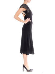 1980s Black Bias Cut Midi Cocktail Dress