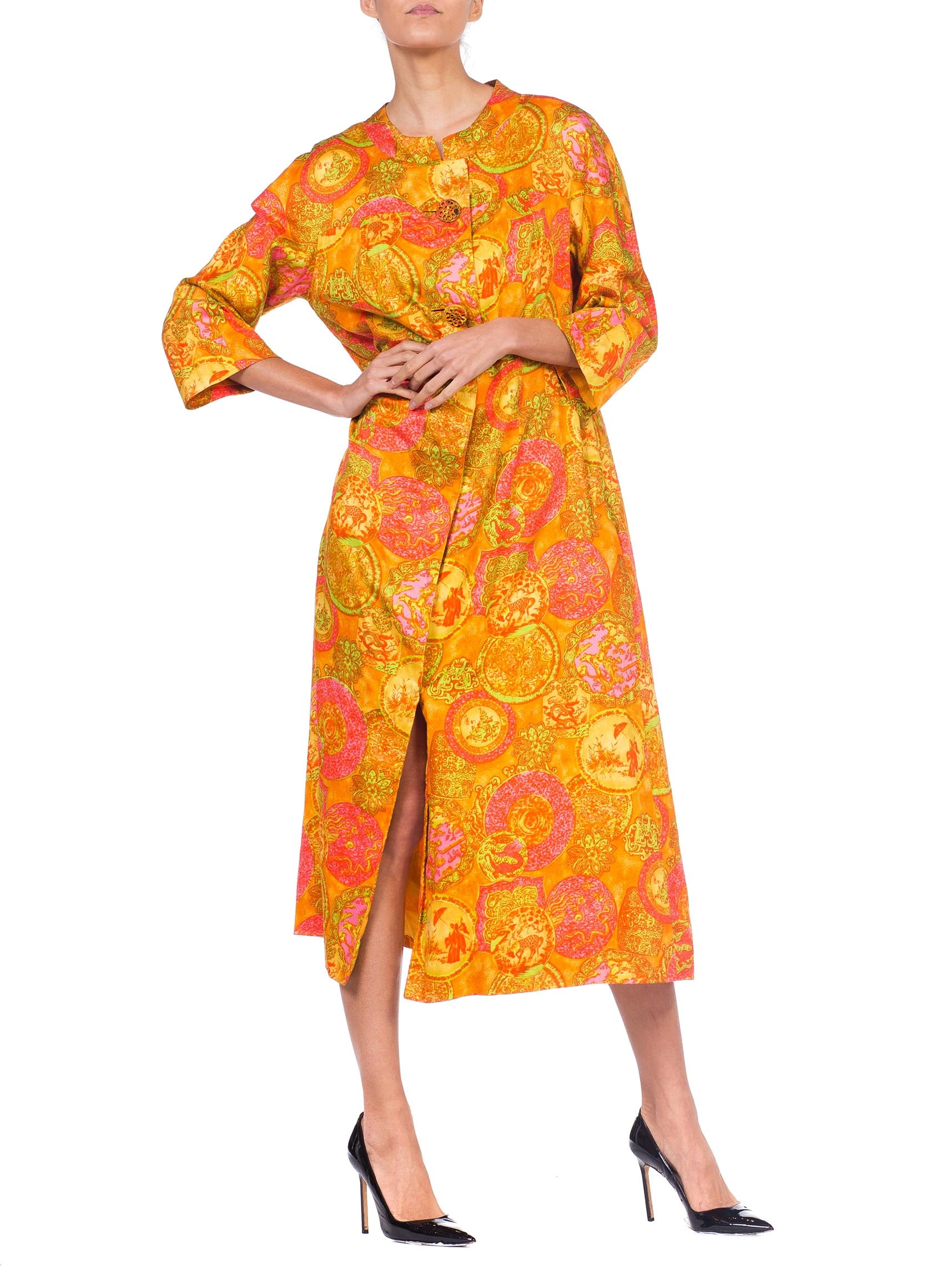 1960S Orange Chinese Cotton Sateen Silk Lined House Dress With Pockets
