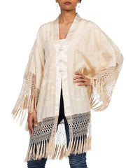 Silk Kimono Made From Antique 1920s Embroidered Silk Fringe Piano Shawl