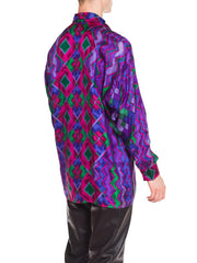 1990s Istante Versace Men's Silk Shirt