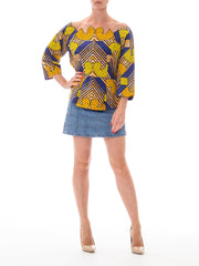 1970s Dutch Wax Printed Three Quarter Sleeve Peplum Top