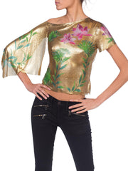 Versace 2000 JLo Collection Tropical Gold Metal Mesh Top