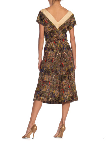 1950S Wool Claire Mc Cardell Paisley Dress
