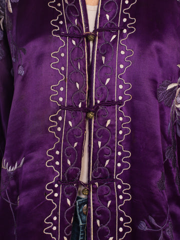 1910S  Purple Hand Embroidered Silk Antique Chinese Kimono Robe Coat