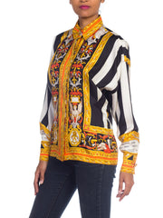 1990s Gianni Versace Atelier Printed Silk Baroque Blouse