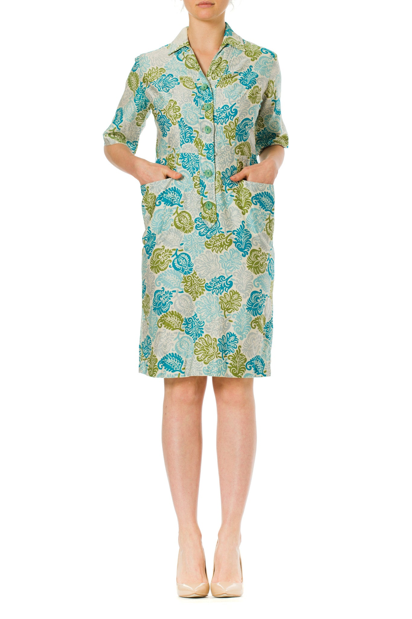 1960s Floral Paisley Priepi Printed Cotton Shirt Dress with Pockets