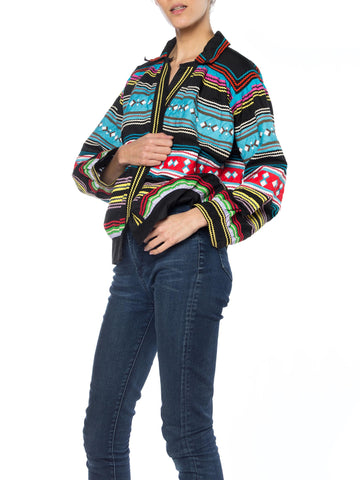 1970S Cotton Boho Native American Seminole Indian Jacket With Ric-Rac