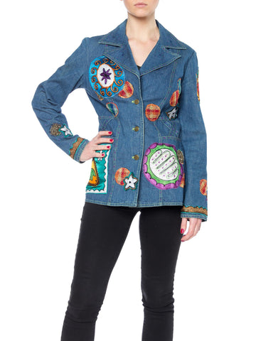 Boho Denim Blazer with Multicolor Embroidery