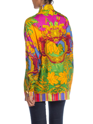 1990S ATELIER GIANNI VERSACE Printed Silk Baroque Leaves Shirt Sz 38