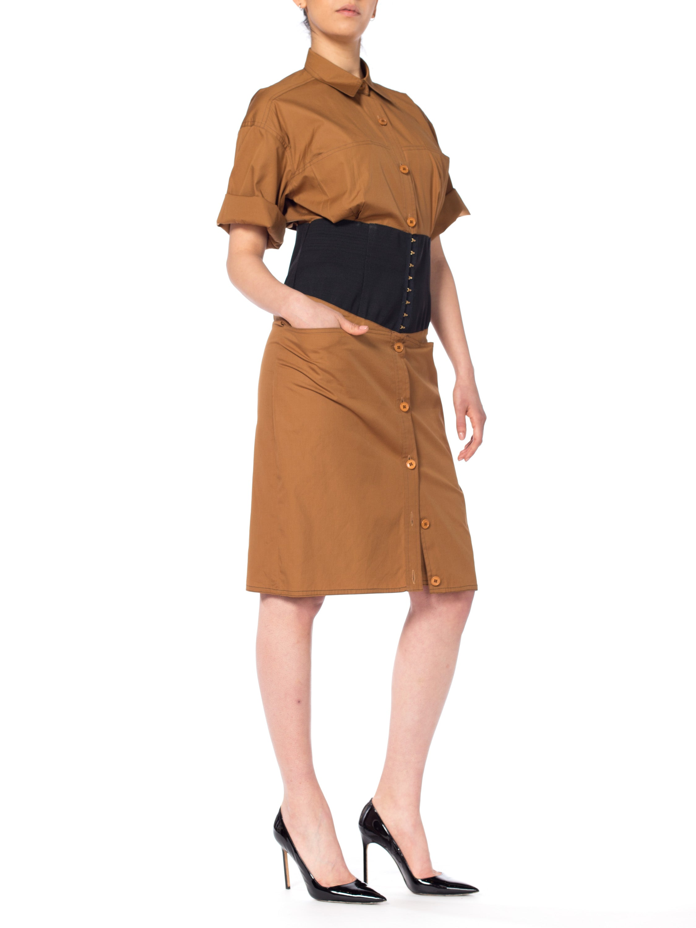 1980S GIANFRANCO FERRE Cinnamon Brown Cotton Poplin Safari Style Shirt Dress With Pockets