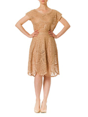 1950s Silk Ribbon Lace Sleeveless Mini Dress