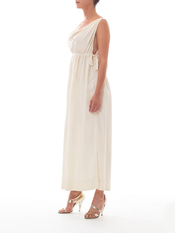 1960s Elizabeth Arden Cream Grecian Goddess Gown w/ Adjustable Waist Tie