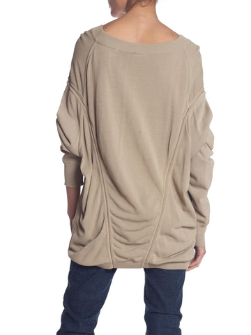 1980S AZZEDINE ALAIA Beige Cotton Blend Oversized Slouchy Sweater