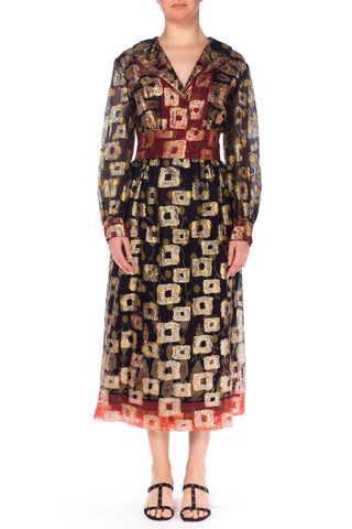 1970s Metallic Jacquard Dress