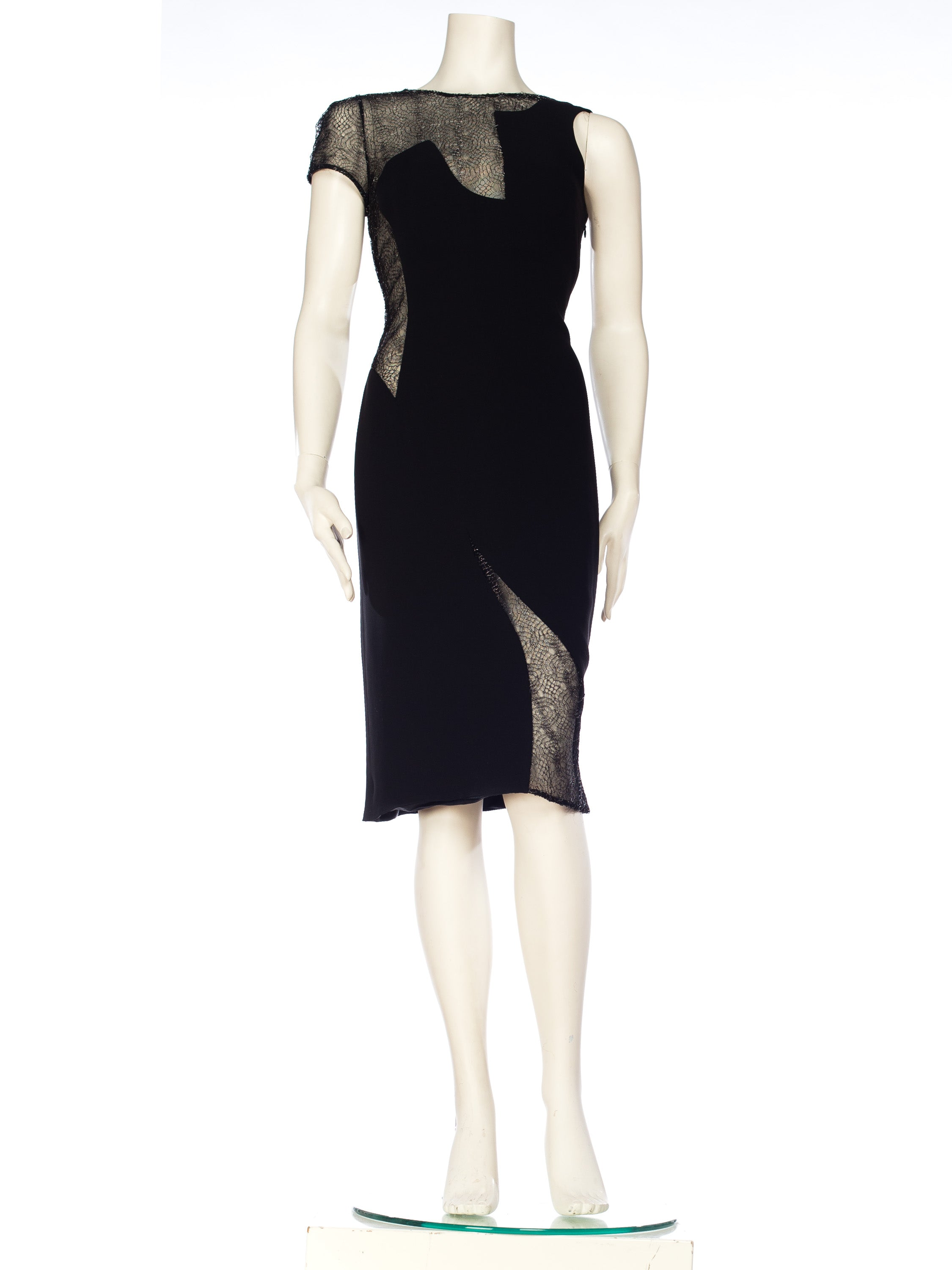 1990S GIANNI VERSACE Black Silk Deconstructed Sexy Modernist Cocktail Dress With Sheer Silver Metallic Lace
