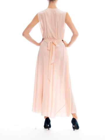 1930S Blush Pink Silk Crepe De Chine French Couture Nightgown  Dress