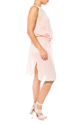 1930s Pink Cotton Slip With Lace