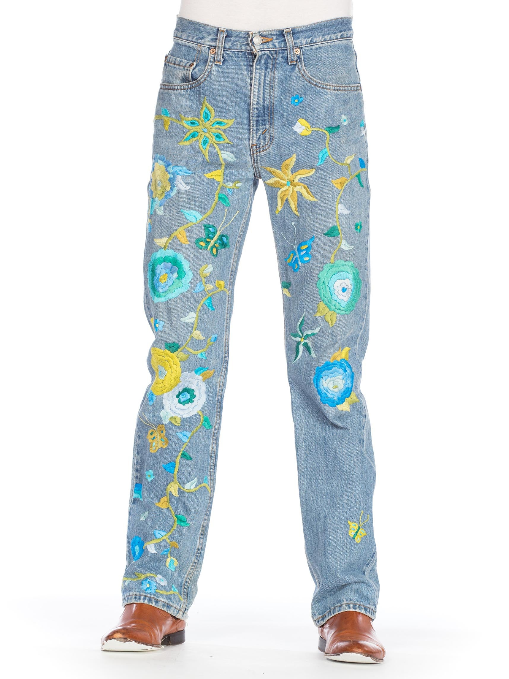 1990S LEVIS Blue  & Yellow Men's Hippie Boho Floral Embroidered Jeans