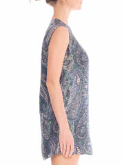 1960's Mini Vest Paisley Print with Metalic Silver Lurex Material