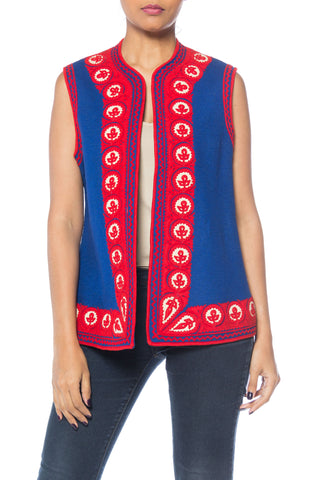 Folk Embroidered Bohemian Blue and Red Felt Vest