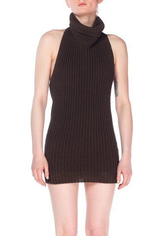 Backless Knit Cowl Neck Halter Dress
