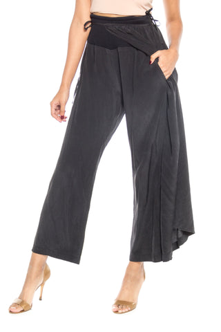 1990S YOHJI YAMAMOTO Black Silk Wide Leg Pants With One Wrap Skirt