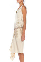 1920s White Satin Dress With Rhinestones And Beading