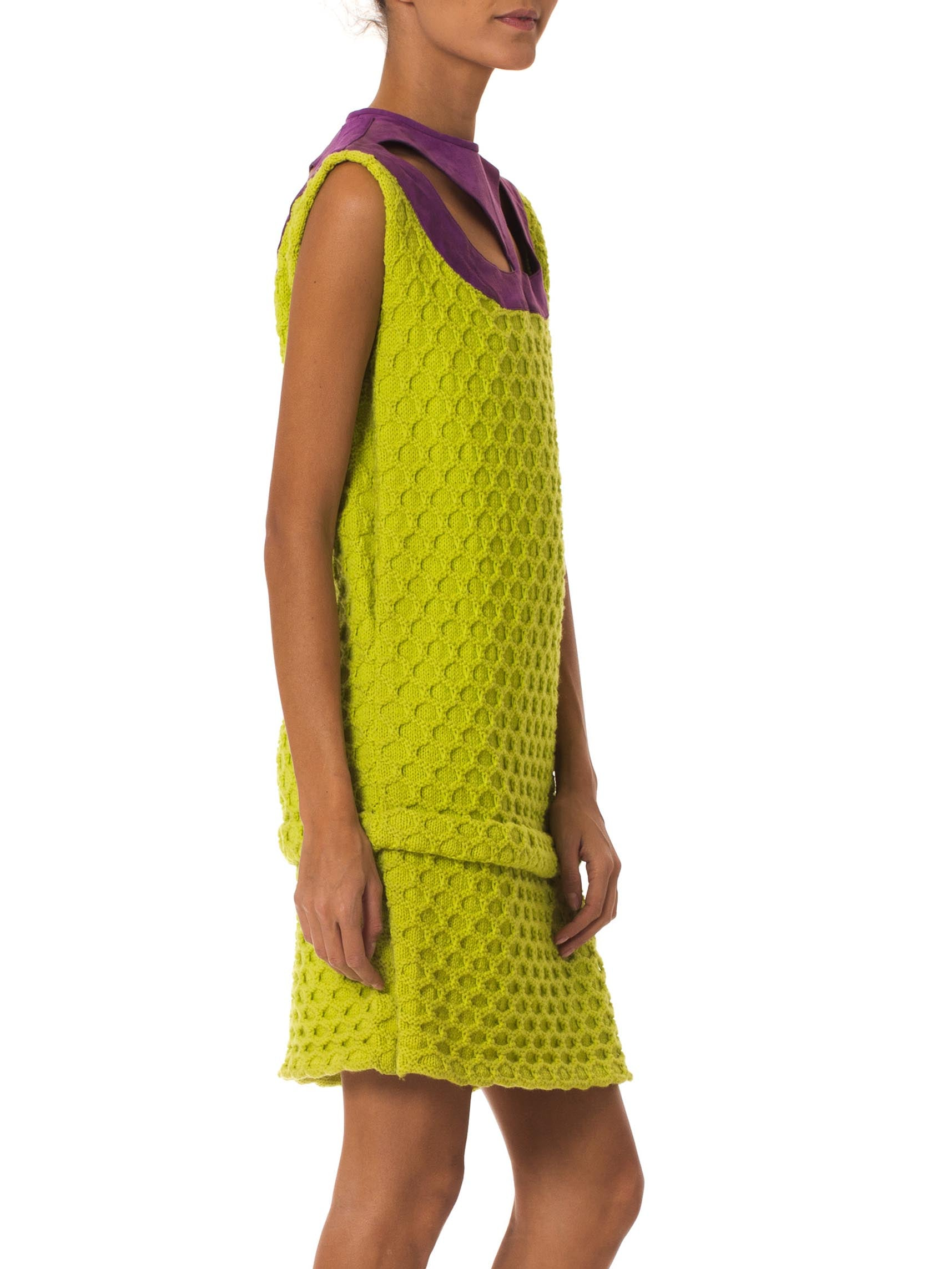 1960S Lime Green & Purple Wool Knit Dress With Suede Neckline
