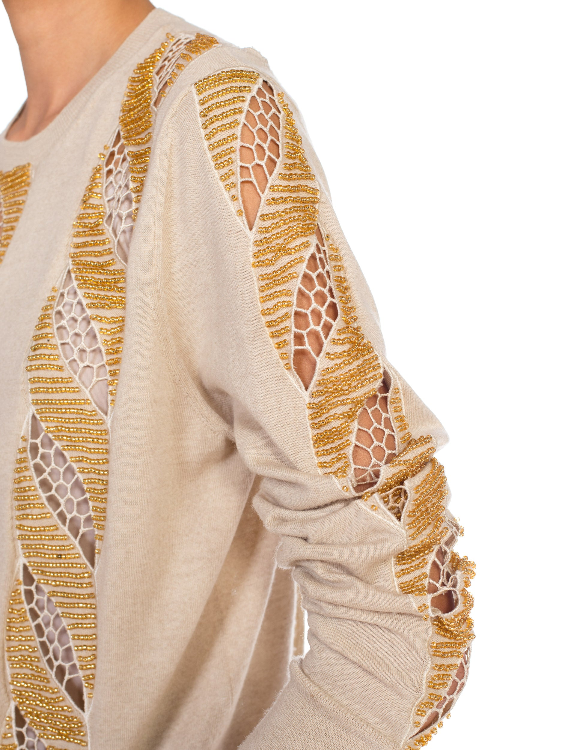 2000S DRIES VAN NOTEN Beige Wool Knit Gold Beaded Lace Cut Out Sweater
