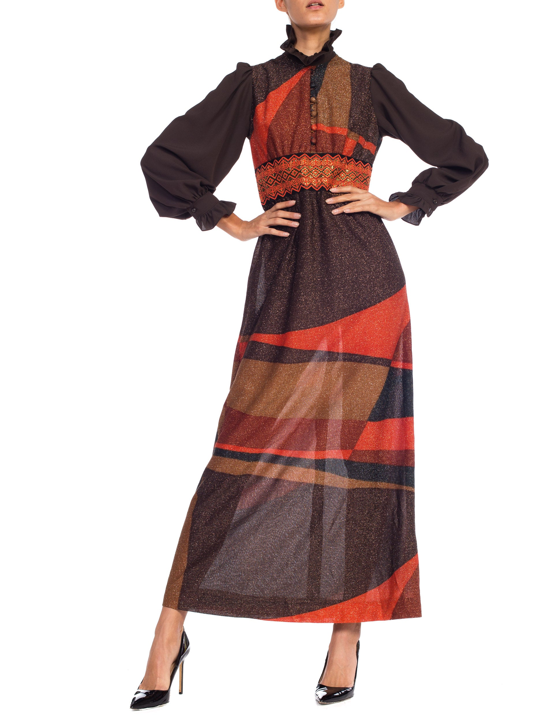 1970S Orange & Brown Poly/Lurex Knit Victorian Revival Dress From Scandinavia