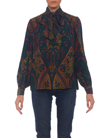 1970s YSL Yves Saint Laurent Paisley Bow Neck Blouse