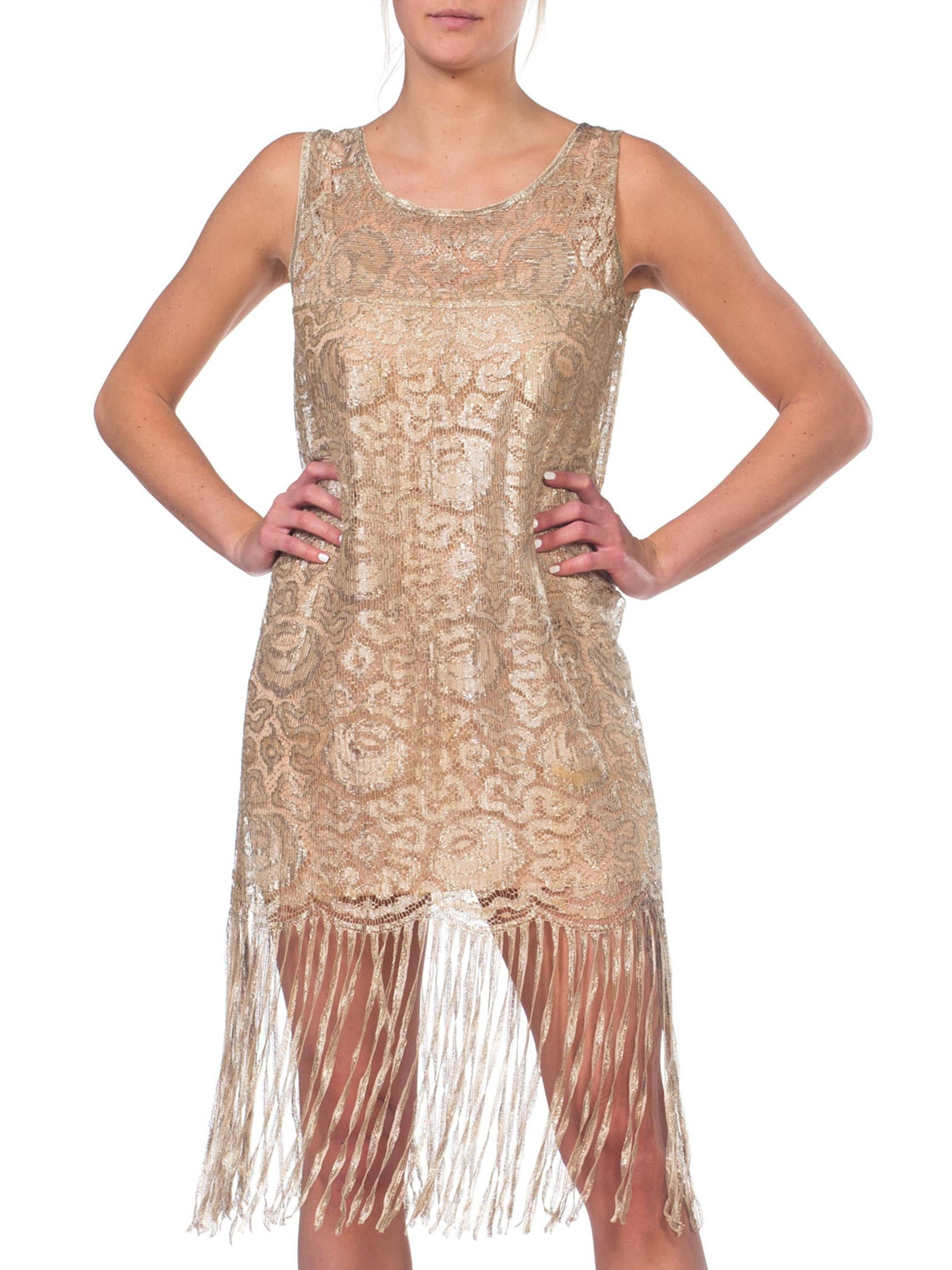 1920S Off White Silver Lamé Lace Art Deco Floral & Fringe Flapper Cocktail Dress