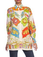 1990s Gianni Versace Miami Beach Collection Silk Blouse