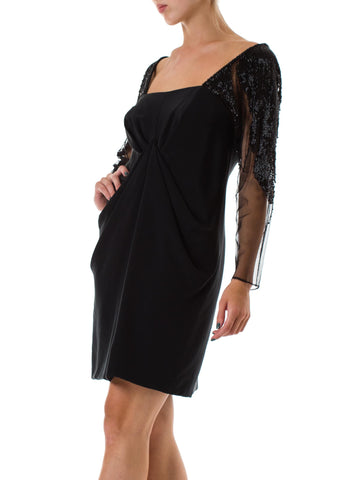 1980s Black Net Beaded Sleeve Cocktail Dress