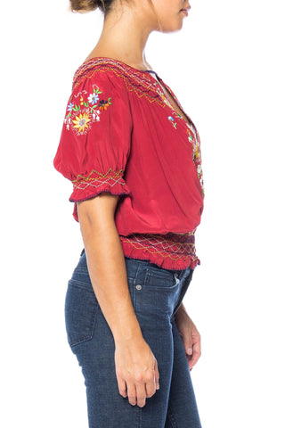 1970S Norma Kamali Cranberry Red Silk Crepe De Chine Embroidered Bohemian Blouse