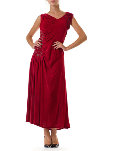 1930s Beaded Red Velvet Draped Gown