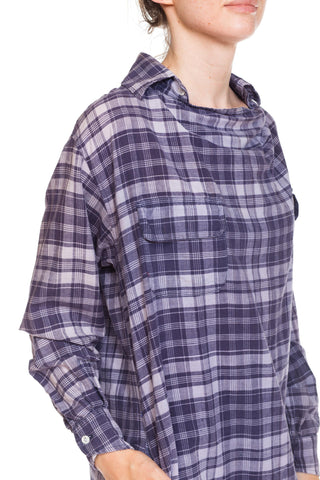 1980S CALVIN KLEIN Blue & White Plaid Cotton Oversized Tunic Shirt