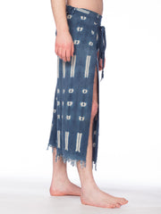 Morphew Collection Indigo Blue Cotton Handwoven Tie-Dyed African Wrap Pants