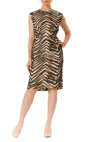1950's Zebra Print Silk Chiffon Dress