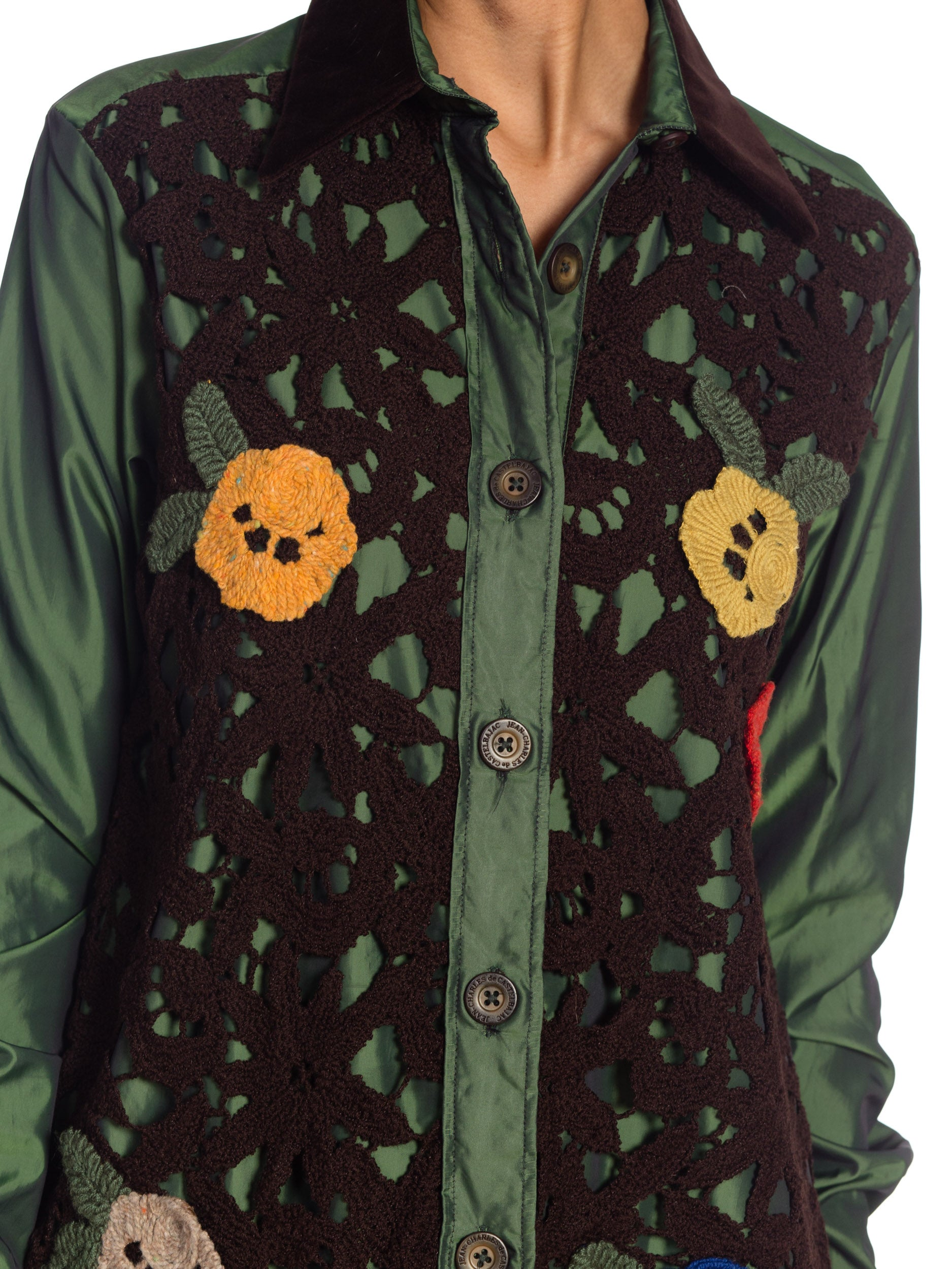 2000S JEAN CHARLES DE CASTELBAJAC Olive Green Nylon Shirt With Floral Crochet Front