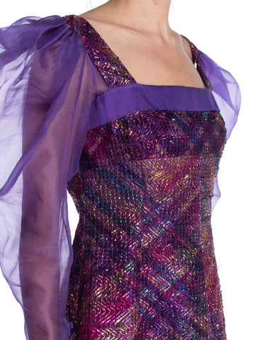 1970S  Bishop Sleeve Organza Metallic Oil Slick Multicolored Maxi Dress