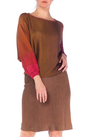 1980S Rayon Knit Ombre Dolman Sweater & Elasticated Waist Skirt Ensemble