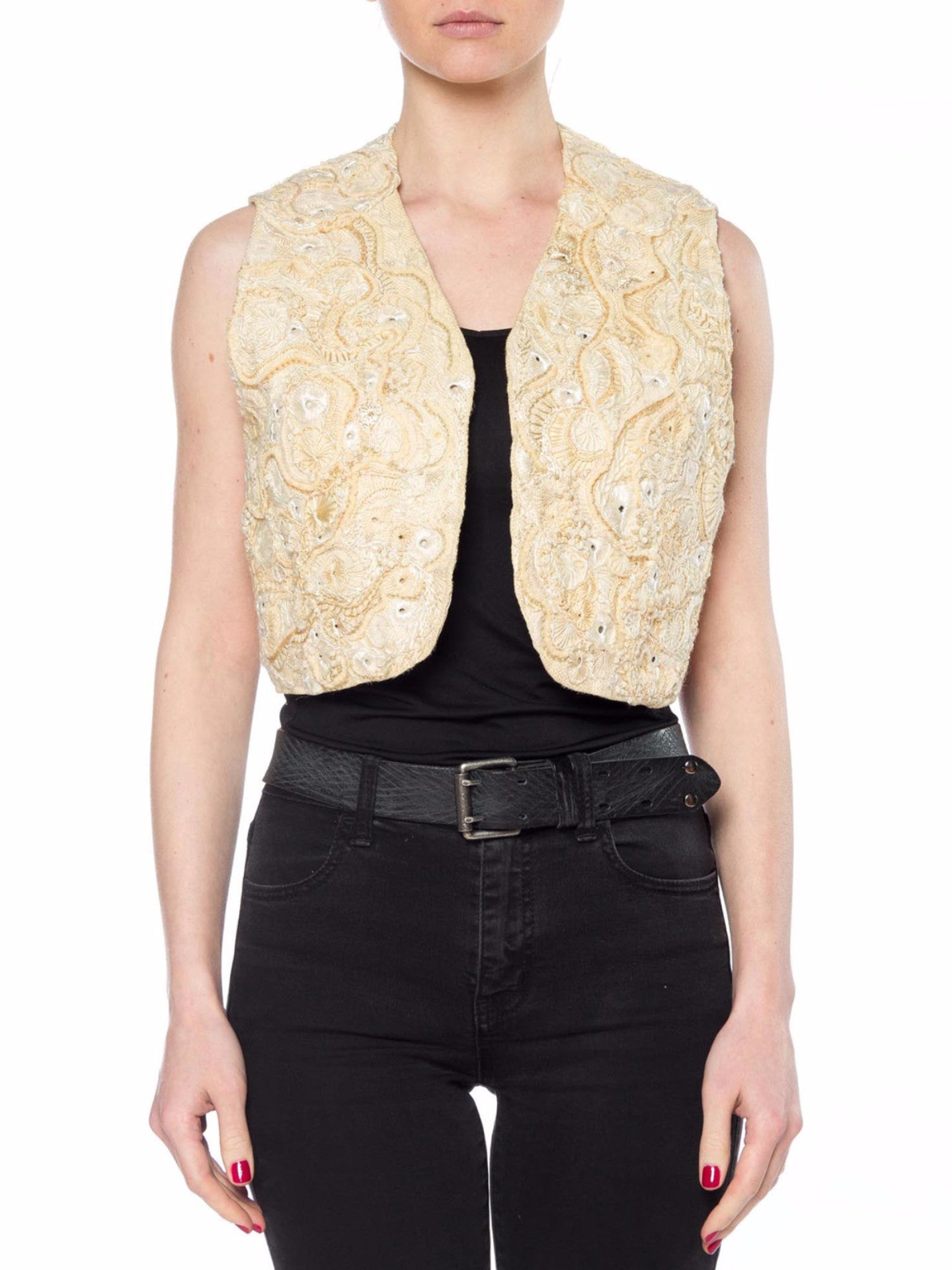 Ethnic Boho Ivory Embroidered Cropped Vest